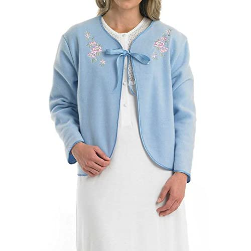 41KKSUKlRqL. SS500  - Slenderella Ladies Soft Polar Fleece Ribbon Tie Bed Jacket Floral Embroidered Detail House Coat