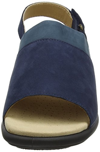 Hotter Damen Augusta Offene Sandalen mit Keilabsatz Blue (Navy Multi)