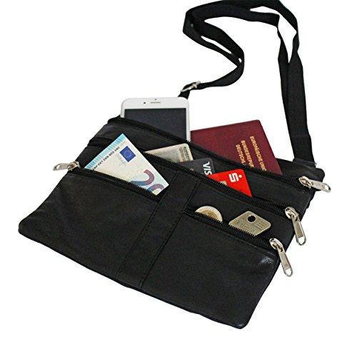 Brustbeutel Leder groß NEW YORK für Damen und Herren - BelliBiz - echtes Nappa Leder (schwarz) - Geldbeutel zum Umhängen - Sicherheit für Handy, Geld und Ausweis - flache, leichte Brusttasche (- New York Herren-leder)