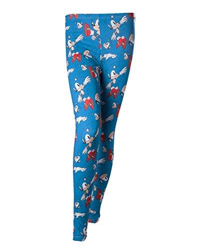 Ufficiale Womens Sonic The Hedgehog Character tutta la stampa Leggings - Ladies Blu