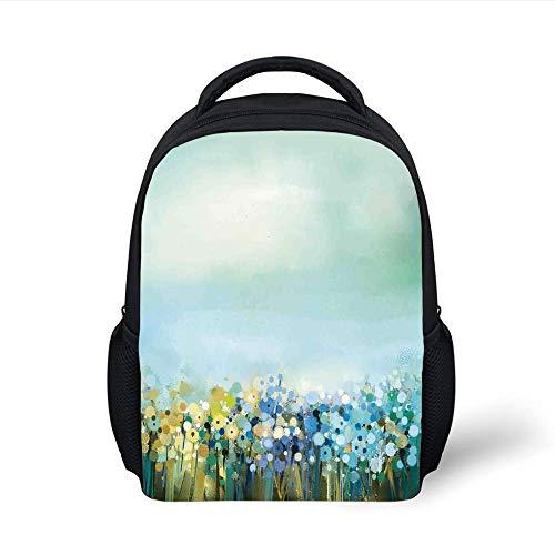 Kids School Backpack Watercolor Flower Home Decor,Aqua Impressionist Field Paint with Blooms Tranquil Concept,Soft Blue Plain Bookbag Travel Daypack - Aqua Flower Girl