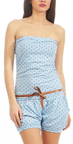 Malito Damen Einteiler mit Anker Print | kurzer Overall schulterfrei | Jumpsuit mit Gürtel - Romper 8963 (hellblau) (Für Anker-kleid Frauen)