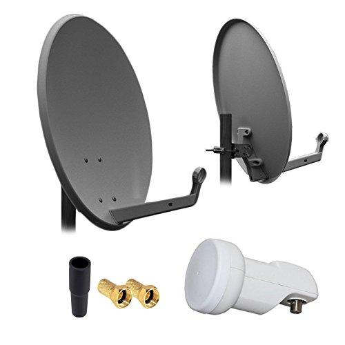 Preisvergleich Produktbild HD Digital SAT Anlage 60cm Spiegel Schüssel Anthrazit Stahl + Single LNB 1 Teilnehmer zum Empfang von DVB-S/S2 Full HD 3D 4K Ultra HD (UHD) Signale + Stecker Gratis dazu im SET