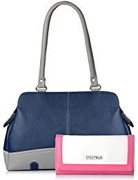 Fostelo Women's Combo Handbag & Clutch (Blue & White) (FSB-1146-FC-24)
