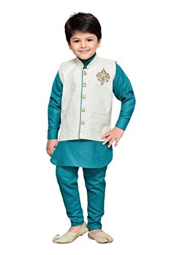 AJ Dezines Kids Kurta Pyjama Waistcoat Set for Boys(661_GREEN_14)