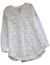 cfd7f683a1a02 Longra Femmes Tee Shirt Floral Dentelle Broderie Col Rond T-Shirt Femmes  Tank Tops Manche Longue Bouffant Loose Décontractée Crop Top…