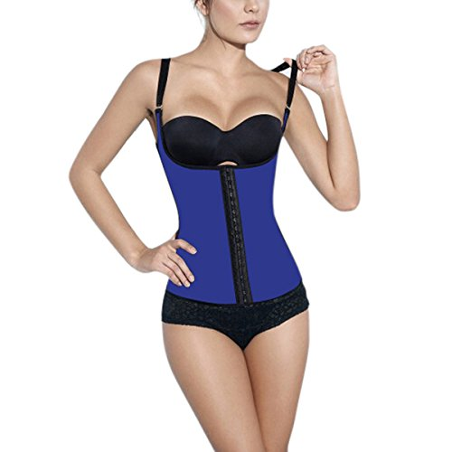 KikiHot Frauen Einstellbar Schultergurte Taille Ausbildung Cincher Korsett Blau