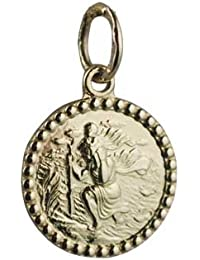 18ct Gold 13mm round St Christopher Pendant Only Suitable for Children