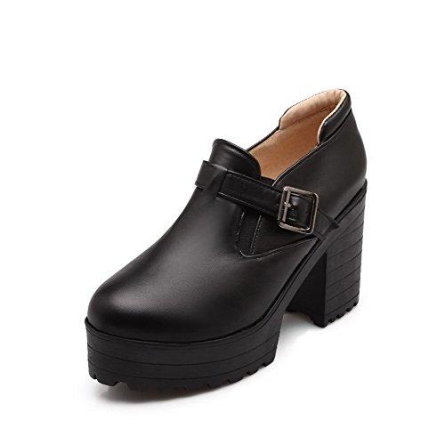 VogueZone009 Femme Tire Rond à Talon Haut Pu Cuir Couleur Unie Chaussures Légeres Noir