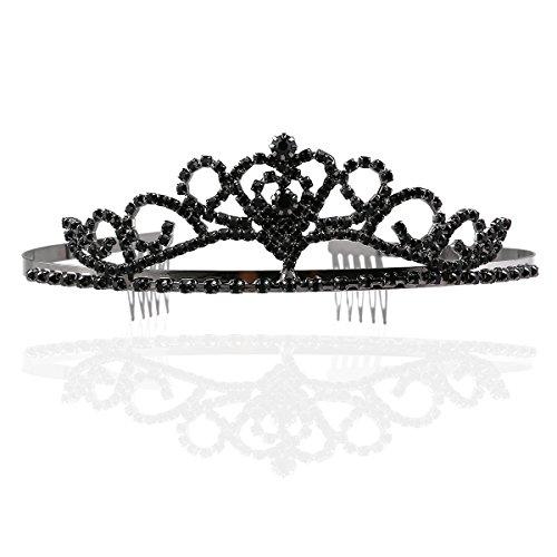 Tinksky Hochzeit Tiara Strass Crystal Bridal Stirnband Haar Accessories(Black) (Halloween-kostüme Königin Bösen)