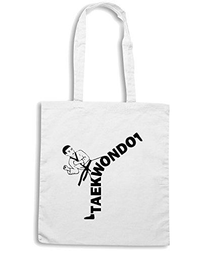 T-Shirtshock - Borsa Shopping TAM0174 taekwondo kicker hooded sweatshirt Bianco