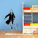 Stycars® Wall Sticker, Tintin With Dog Cartoon Vinyl Children's Room Art Mural Decals Tintin Vinyl Poster Art Decor [Size: 38x57 CM]...