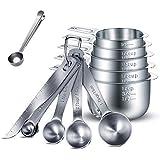 HENSHOW Juegos de cucharas medidoras, 13 Piezas Premium 304 de Acero Inoxidable Cuchara dosificadora/Taza medidora/Regla de m