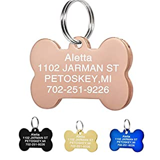 Amlion Personalised Engraved Dog Tag,Stainless Steel Personalised Dog Tag & Cat Tag -Engraved Pet tags,Bone Round Heart Rectangle Shape,5 Colors (Large Bone, Rose gold)