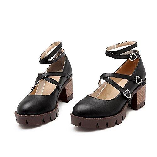 AgooLar Femme Rond à Talon Correct Couleur Unie Boucle Chaussures Légeres Noir