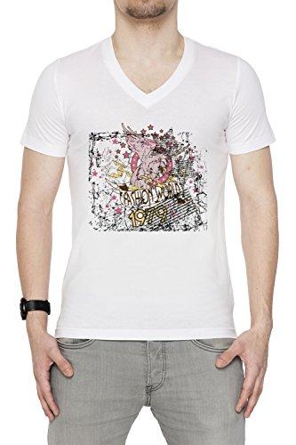 Fashion World Uomo V-Collo T-shirt Bianco Cotone Maniche Corte White Men's V-neck T-shirt