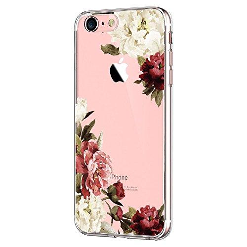 Pacyer iPhone 7 Hülle iPhone 8 Hülle Silikon Ultra dünn Transparent Handyhülle Durchsichtige Rückschale TPU Schutzhülle für Apple iPhone 7/8 Case Cover Mädchen Geschenk Blumen (Blumen 3)