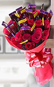 Golden Cart Garden Fresh Rose Flower Bouquet to Convey 'Special Feeling' (Bunch of 10 Red Roses & 10 Chocolates, Red)