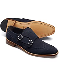 Navy Suede Double Buckle Monk Shoe by Charles Tyrwhitt