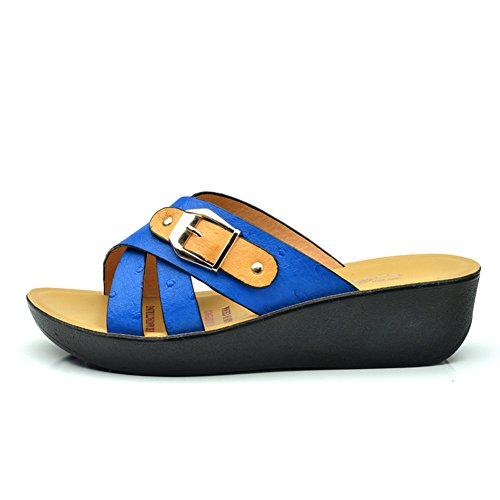Pantoufles et sandales d'été/Chaussures pour mères d'âge moyen/Plate-forme plate-forme coins A