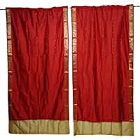 Mogul Interior Indian Boho Silk Curtain Red Gypsy Sari Border window Curtains Door Drape 44""