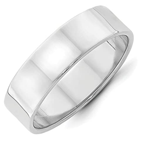 14ct White Gold 6mm Ltw Flat Band Size W 1/2 Ring