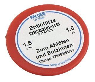 Entlötlitze FELDER, 1,50mm, mit halogenfreiem Flussmittel getränkte Kupferlitze, 1,60m Spule