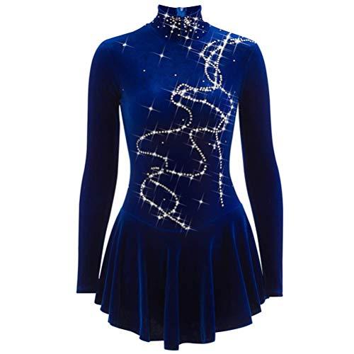 YunNR Eiskunstlauf Kleider für Mädchen/Kind Handgemachter Samt Lange Ärmel Königsblau Eislauf Performance-Bekleidung Strass Hoher Kragen Reißverschluss Hinten,Royalblue,M