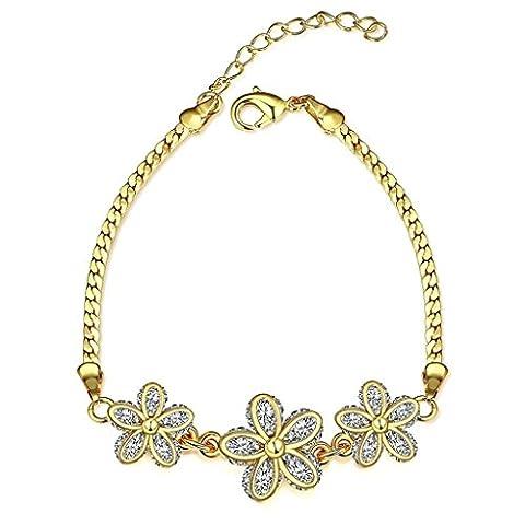 Bishilin Copper Gold Flower Shape With Crystal Bracelet For Women On Wedding Adjustable Length