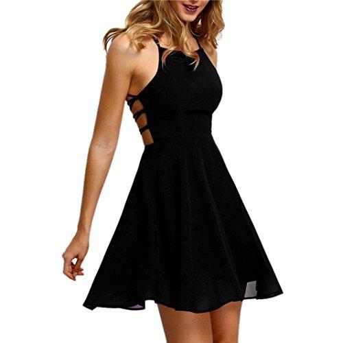 Minikleid, Keepwin Damen Sexy Kreuzbandage Rückenfrei Sommerkleid Strandkleid Elegant Einfarbig Chiffon Partykleid Cocktailkleid (S, Schwarz)