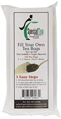 Special Tea Company Empty Tea Bags, 2 Inch x 3 Inch, 150 Count