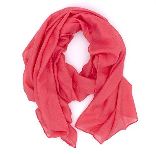 WILD CAT Damen Schal Halstuch Tuch aus Chiffon für Frühling Sommer Ganzjährig (Koralle)