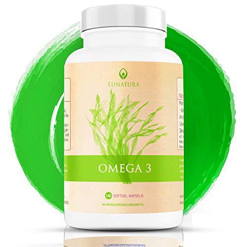 Pflanzliches Omega 3 [KEIN FISCHÖL] - Gesünder als Fischölkapseln - Algenöl hochdosiert - Hoher EPA und DHA Anteil - Krillöl vegan - Fettsäuren Omega 3 und 6 Öl - vegetarisch aus der Mikroalge Schizochytrium - Algenölkapseln (140 Kapseln)