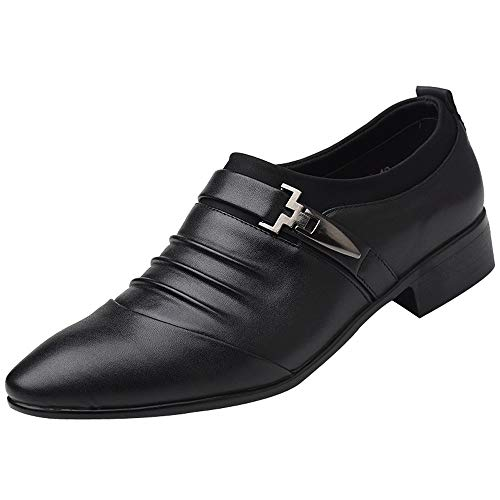 koperras Mens Business Casual Leather Shoes, Men's Classic Pointed Toe Formal Soft Face Wedding Banquet Shoes(US 10.5,Black) -