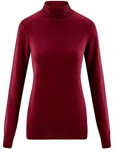 oodji Collection Damen Viskose-Pullover Basic Rot (4900N)