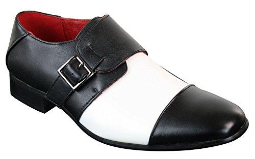 Chaussures à enfiler pour homme avec boucle doublure cuir style chic italien habillé noir et blanc Noir