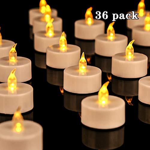 Lot de 36 bougies LED Bougies CR2032 piles Bougies Unscented Bougie chauffe-plat sans flamme claire vacillante gefälschte Bougie pour la maison décorations de Noël Mariage