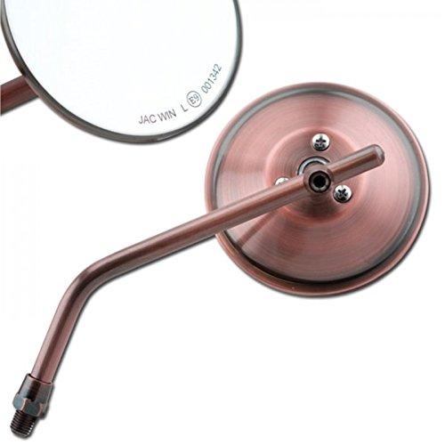 Motorrad Styling Spiegel - mit E-Zeichen - Kupfer/Bronze - Universal Links Rechts - M10 Gewinde 10-145