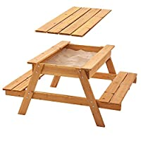 Garden Games Sandpit Picnic Table with Lid and Weather Cover - Children
