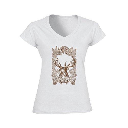 Deer Animal Wood Creature Horns Logo Brown Big Damen V-Neck T-Shirt Weiß