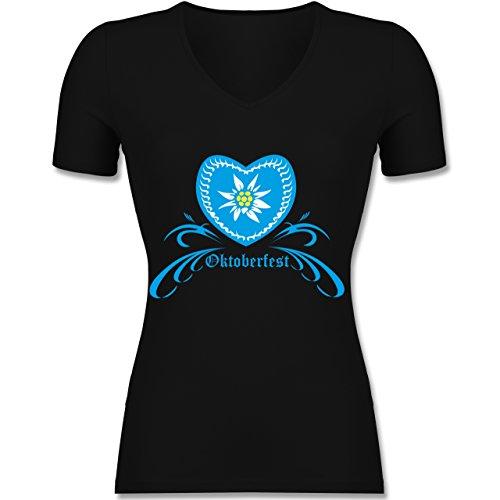 Shirtracer Oktoberfest Damen - Oktoberfest - Herz mit Edelweiss - Tailliertes T-Shirt mit V-Ausschnitt für Frauen Schwarz