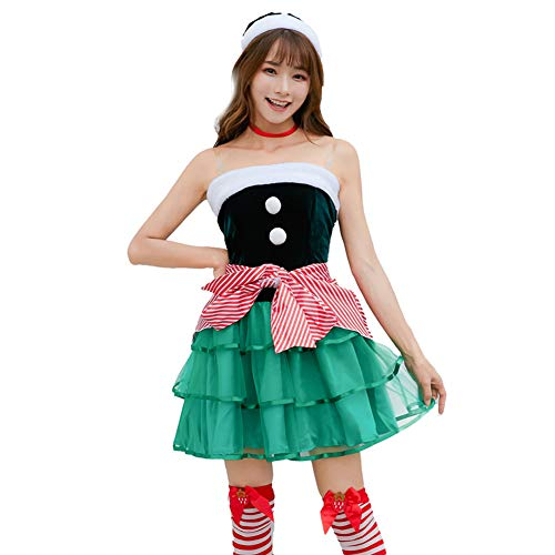 Adult Weihnachtskostüm - FGDJTYYJ Weihnachtskostüm, Adult Christmas Elf Kostüm Cosplay Kuchen Rock weiblich grün süß Weihnachtskostüm (Hut + Kleid + Schürze + Krawatte),XL