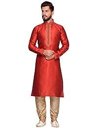 Mens Kurta Pajama Wedding Doby Dupion India Party Wear Set of 2