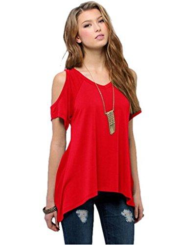 donna-manica-corta-spalla-off-ampio-orlo-design-loose-elasticizzato-top-camicia-camicetta-red-small