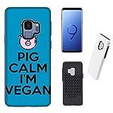 Hülle 2 in 1 Galaxy S9 (2 in 1) Case Samsung Galaxy S9 (2 in 1) Veganes Leben Schwein Kalm Ich bin Veganer / Cover TPU Silikon Druck auch an den Seiten / Anti-Rutsch Anti-Rutsch Anti-Scratch Schock-resistenten Schutz Schutzulle Starre