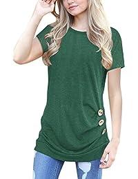 ECOWISH Langarmshirt Damen Pullover Frühling Knopf Rundhals Tshirt Hemd  Oberteile Tops 482d5b4c59