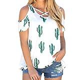 Lolittas Cactus Top Sans Bretelles à Manches CourtesFemmes Fashion Cactus Print Manches Courtes T-Shirt Tops (Blanc, S)