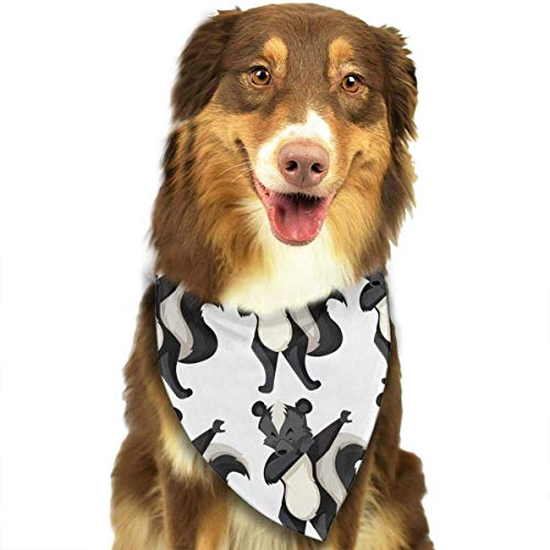 Pet Bandana Skunk On White Background Washable and Adjustable Triangle Bibs for Pet Cats and Puppies