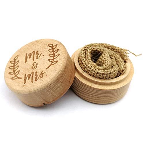 zhiwenCZW Personalisierte Gravur rustikale Hochzeit Holzring Box Schmuck Trinket Lagerbehälter Custom glücklich Immer nach Ringen Inhaber vorschlagen -