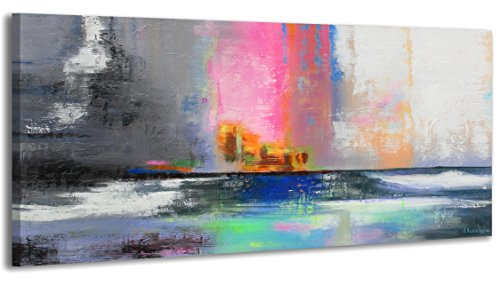 YS-Art Acrylic Painting Balance | 100% HANDPAINTED + Certificate | Artwork on Canvas and Wooden Frame | Picture Handmade | Fine Art Unique | 1-Piece | Modern Wall Art | 115x50 cm